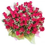 69 red Roses in a bouquet