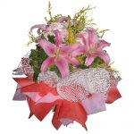 Pink Lilies in a mixed bouquet
