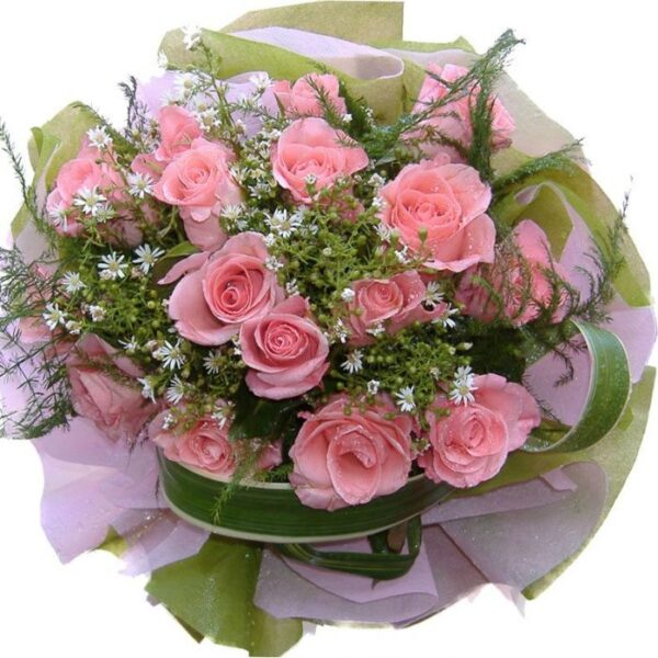 Pink Roses bouquet, close up