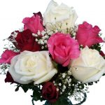 Red, Pink & White Roses Vase close