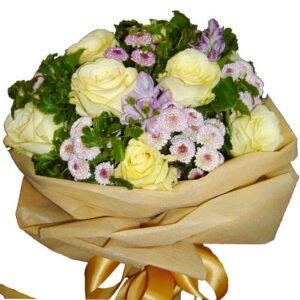White Roses in a mixed bouquet, close up