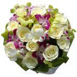 White Roses & Orchids bouquet