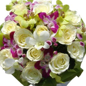 White Roses & Orchids bouquet, close up