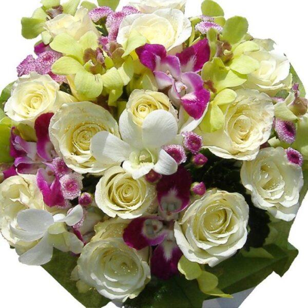 White Roses & Orchids bouquet, close up