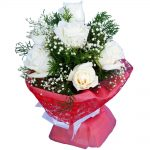 White Roses in a bouquet