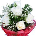 white roses bouquet close