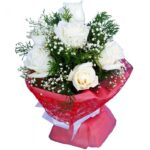white roses bouqet