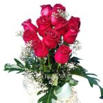Red Roses in tall vase close