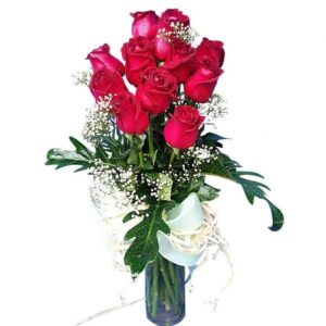 Red Roses in a tall vase