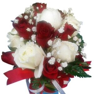 Redand White Roses in a vase, close up