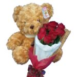 Teddy & Red Roses close