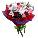 A mix of Roses & Carnations in a bouquet
