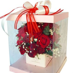 Red Roses in a specially designed see through display box, close up