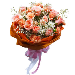 Peach Roses & Carnations in a Bouquet