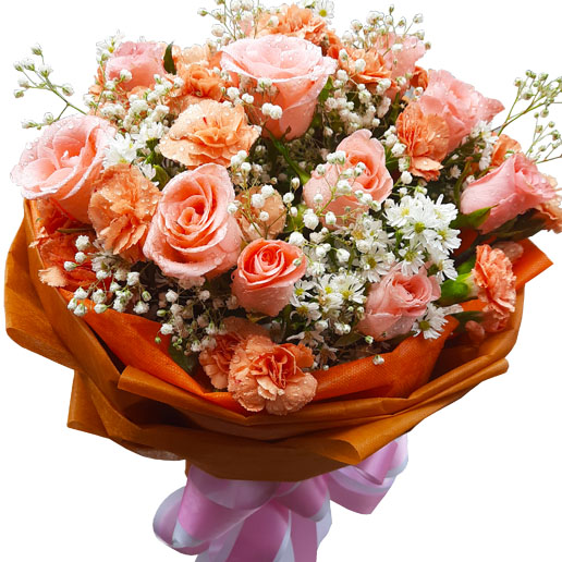 Peach Roses & Carnations in a Bouquet, close up