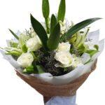 White Roses & Lilies Bouquet close