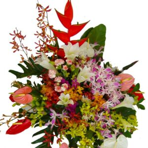Selection of seasonal tropical flowers in a basket close up