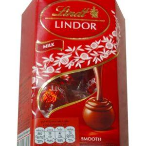 Box of Lindt Lindor Milk Chocolates, 75 grams, close up