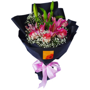 Lilies & Roses Black Wrap Bouquet