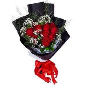 Red Roses in a Black Wrap Bouquet