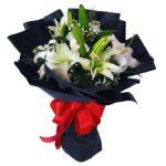 White Lilies Black Wrap Bouquet