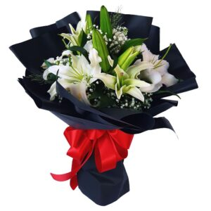 White Lilies Black Wrap Bouquet