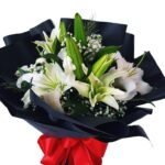White Lilies Black Wrap Bouquet close