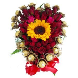 Chocolates, Red Roses and Sunflower Heart Basket
