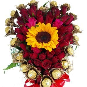 Chocolates, Red Roses and Sunflower Heart Basket, close-up